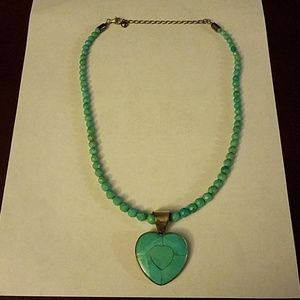 Jay king heart sterling and turquoise necklace